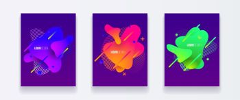 Abstract cover set of liquid shapes. Fluid vector design. Gradient flyer, banners with flowing liquid shapes. Modern design template.