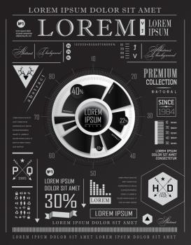 Set elements of infographics ?an be used for invitation, congratulation or website