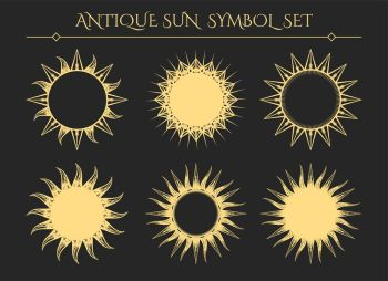 Vintage starburst mystical icons. Sun symbols. Vintage starburst mystical icons or spiritual geometry star logo signs