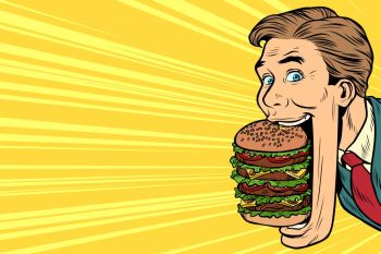 hungry man with a giant Burger in your mouth, street food. Pop art retro vector illustration. hungry man with a giant Burger, street food