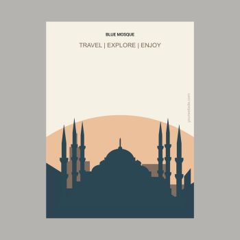 Blue Mosque Istanbul, Turkey Vintage Style Landmark Poster Template