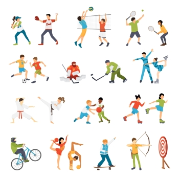 Kids Sport Icons Set. Flat icons set of kids doing different types of sports from football to archery isolated vector illustration