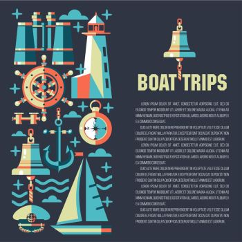 Yacht club. Vector illustration with place for text. Pattern on the theme of sea travel on a dark background.