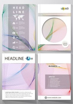 Business templates for brochure, magazine, flyer, booklet or annual report. Cover design template, easy editable vector, abstract flat layout in A4 size. Colorful design with waves forming abstract beautiful background.. Business templates for brochure, magazine, flyer, booklet, report. Cover template, vector layout in A4 size. Colorful design with waves forming abstract beautiful background.