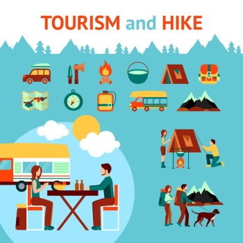 Tourism and hike infographics with outdoor recreation symbols vector illustration. Tourism And Hike Infographics