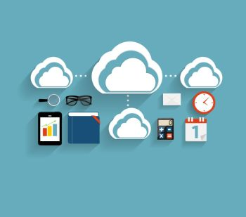 Cloud Computing Concept on Different Electronic Devices. Vector Illustration. Cloud Computing Concept on Different Electronic Devices. Vector