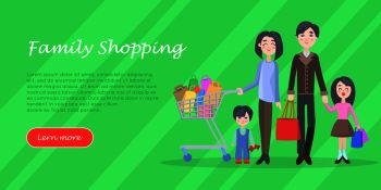 Family shopping banner. Young man and woman make purchases with kids cartoon flat vector illustration isolated on white background. Father and mother buying gifts on holiday sale with son and daughter. Family Shopping Cartoon Flat Vector Concept