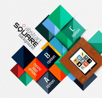 Geometric square shapes and infographic option elements with tablet. Geometric square shapes and infographic option elements with tablet. Vector illustration