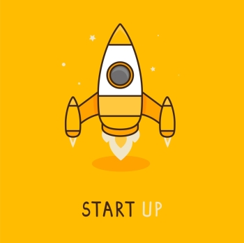 Vector launch icon in flat style - space rocket icon - new business concept