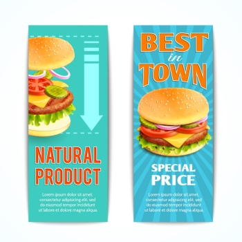 Fast food vertical banners set with best natural meat hamburgers isolated vector illustration