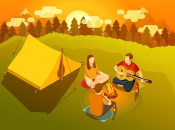 Friends Singing Around Campfire Isometric Illustration. Three young friends singing at sunset around campfire near hiking tent on backcountry trip isometric vector illustration