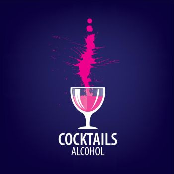 alcoholic cocktails logo. vector icons of alcoholic drinks by the glass