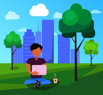 Free Wi-fi zone in city park on background of skyscrapers banner. Man with laptop and coffee using modern computer technologies, internet addiction concept. Male in Park Using Modern Computer Technologies