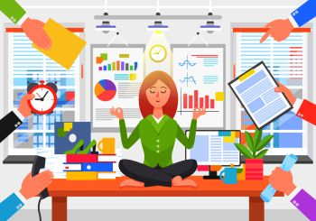 Business poster with woman in process of relaxation, sitting on table in office while others want her to do job, calm person on vector illustration. Business Poster with Woman on Vector Illustration