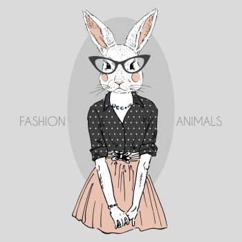 anthropomorphic design. fashion illustration of bunny girll dressed up in hipster style