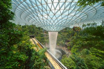 Jewel Changi Airport in Singapore City. Interior design decoration with waterfall, garden and trees. The world's best airport and destination