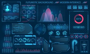 Futuristic Interface HUD Design, Infographic Elements. Futuristic Interface HUD Design, Infographic Elements. Tech and Science, Analysis Theme - Illustration Vector