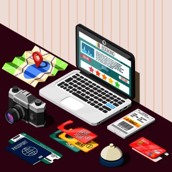 Travel isometric design concept with passport tickets bank card laptop and online booking app on screen vector illustration.  Online Booking Isometric Design Concept