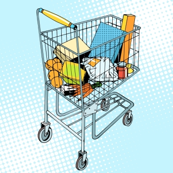 grocery trolley with food pop art retro style. Buy in the store. Vegetables fruit meat packaging gifts goods. Business and buyers. grocery trolley with food
