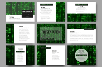 Set of 9 vector templates for presentation slides. Virtual reality, abstract technology background with green symbols, vector illustration.