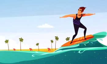 Tropical island vacation big wave surfing cartoon poster with beach palms and man on surfboard vector illustration . Surfing Tropical Beach Cartoon Poster