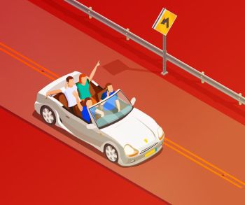 Friends Riding Luxury Car Isometric Poster. Young friends riding open top white luxury convertible car isometric poster with red colored background vector illustration