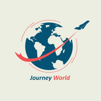Journey Through the World. The plane flies around the globe, leaving behind a red line. The logo symbolizes the travel company.