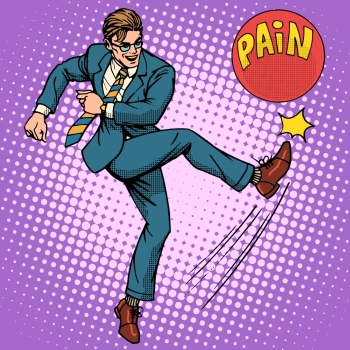 Man hits ball with name pain pop art retro style. Medical and mental health. Medicines and treatment. Pharmacy and pills. Man hits ball with name pain