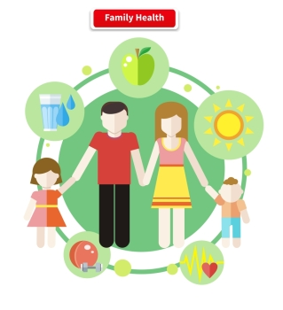 Icon flat style concept family health. Care human, child and parent, mother and father, boy and girl, healthy logo, sport and water, food and apple illustration