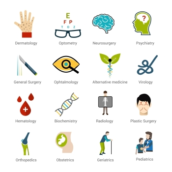 Medical specialties icons set with dermatology optometry neurosurgery psychiatry isolated vector illustration