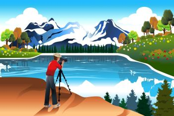 A vector illustration of photographer taking picture of a beautiful nature