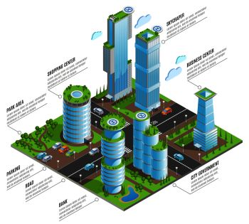 Isometric futuristic skyscrapers infographics with shopping business centers skyscraper and other elements of city vector illustration. Isometric Futuristic Skyscrapers Infographics