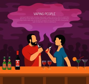 Vapor electronic cigarettes smoking colorful poster with 2 vaping bar visitors and guide summary text vector illustration . Vapor Electronic Cigarettes Smoking Poster