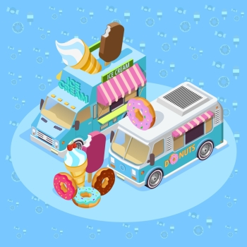 Food Trucks Isometric Composition Poster. Street food trucks isometric composition poster with ice cream van and donuts bus blue background vector illustration