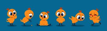 Cute baby chicken. Cartoon yellow chick bird character, funny poultry animal isolated set. Vector illustration young little cute chickens for kid on blue background. Cute baby chicken. Cartoon chick bird character, funny poultry animal isolated set. Vector young little chickens for kid illustration