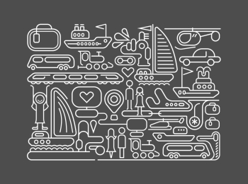 White color line art on a dark grey background Transport for Travel vector illustration.. Travel line art vector illustration