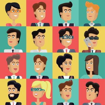 Set of Peoples Faces Vector in Flat Design.. Set of peoples faces vector in flat style. Collection of business characters heads on different colors background. Illustrations for corporate avatars, app icons, infographics, logotype design.