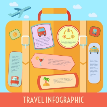 World travel infographics set with tourism and vacation symbols vector illustration. Travel Infographics Set