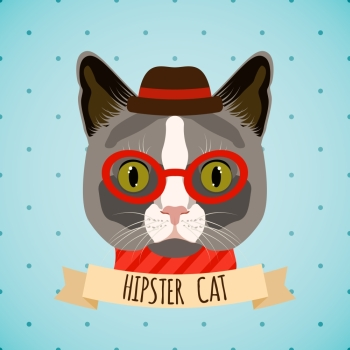 Hipster cat with glasses and hat portrait with ribbon poster vector illustration.
