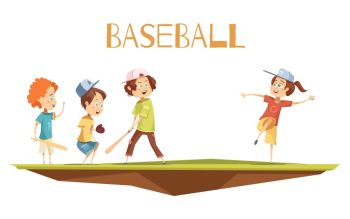 Cartoon Kids Playing Baseball Vector Illustration. Kids playing baseball flat vector illustration in cartoon style with cute characters engaged in game