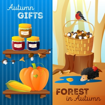 Autumn Vertical Banners. Flat design vertical autumn banners with seasonal vegetables jam mushrooms and forest animals isolated vector illustration