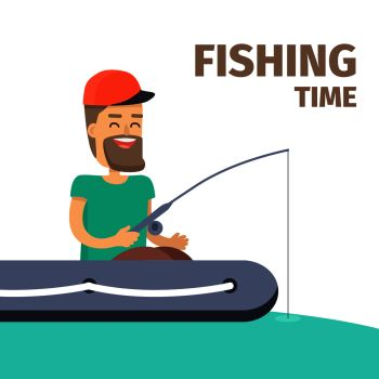 Fishing time. Cartoon fisherman in cap and turquoise T-shirt sits in inflatable boat, smiles and do fishing on water on white background. Vector illustration of male hobby in flat cartoon style. Fishing time. Fisherman Character Illustration