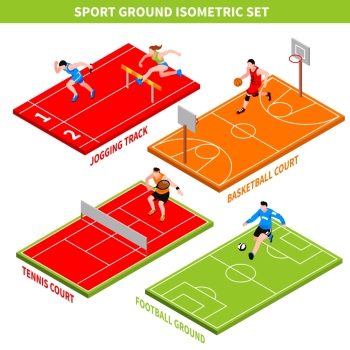 Sport Isometric Concept. Isometric concept with jogging track and colorful courts and grounds for various sport games isolated on white background vector illustration