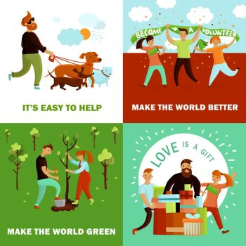 Happy Volunteers Design Concept. Volunteers design concept with four flat cartoon compositions and human characters of young people with text vector illustration
