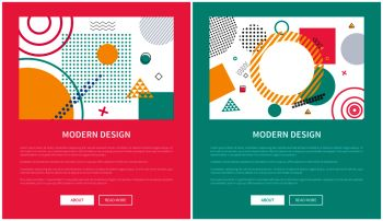 Modern design, set of colorful websites, circles and squares on images, titles and text sample with buttons on vector illustration web posters. Modern Design Colorful Web on Vector Illustration