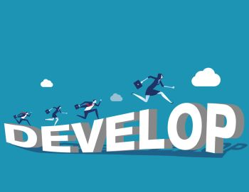 Growth.Corporate people and develop. Concept business vector illustration.