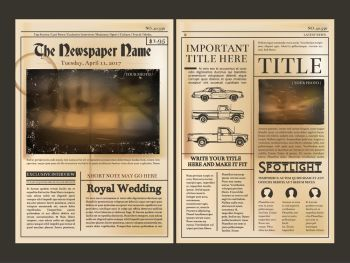 Layout design. Front page of vintage newspaper. Vector illustration with place for your text. Newspaper page, column of new article. Layout design. Front page of vintage newspaper. Vector illustration with place for your text