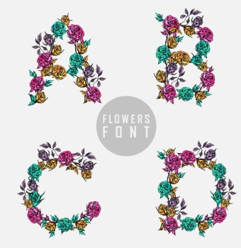 Vector colorful flower font. Can be used banners, invitation, congratulation or website layout vector