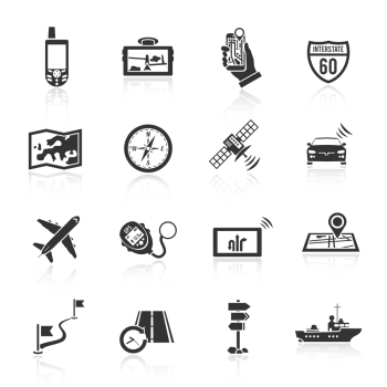 Navigation real time course and position finder system black icons set with compass abstract  isolated vector illustration