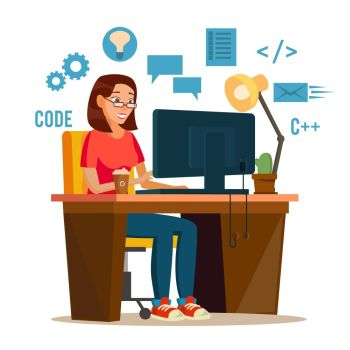 Programmer Woman Vector. Programmer Workspace. Working On Internet Using Laptop. Cartoon Character Illustration. Programmer Woman Vector. Development Working. Man Freelance Job Concept. Isolated On White Cartoon Character Illustration